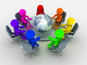 14664837 - 3d people of different nationalities at the conference table glass around the earth globe